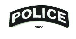 Police White on Black Small Rocker Iron on Patches for Biker Vest and Jacket-STURGIS MIDWEST INC.