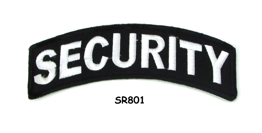 Security White on Black Small Rocker Iron on Patches for Biker Vest and Jacket-STURGIS MIDWEST INC.