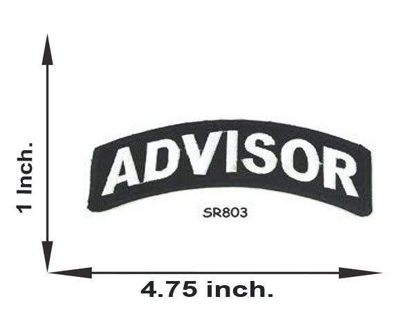 Advisor White on Black Small Rocker Iron on Patches for Biker Vest and Jacket-STURGIS MIDWEST INC.