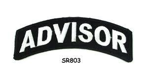 Advisor White on Black Small Rocker Iron on Patches for Biker Vest and Jacket