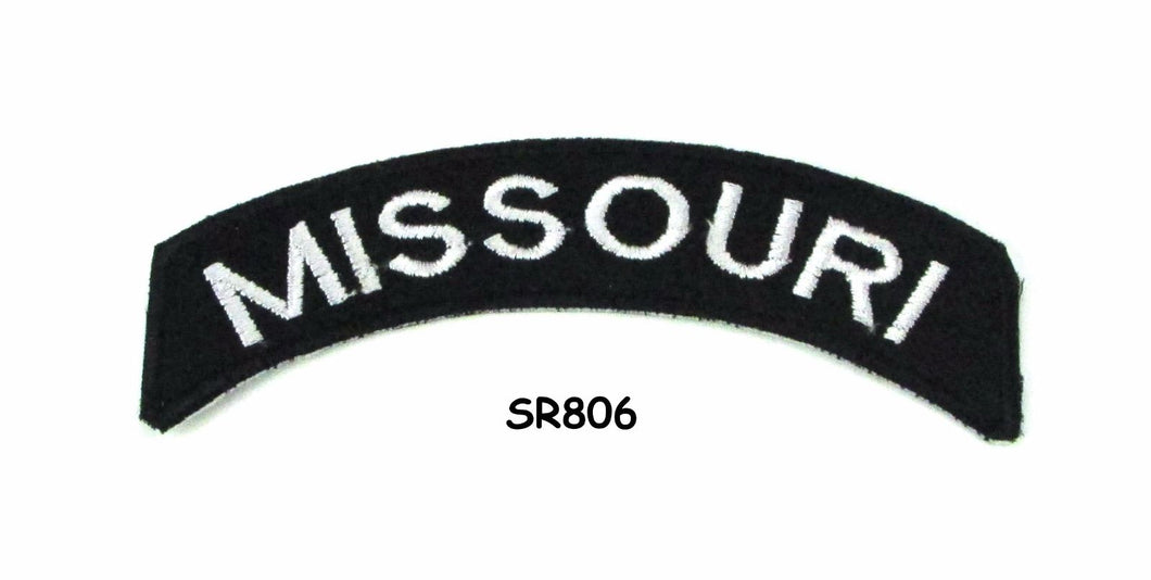Missouri White on Black Small Rocker Iron on Patches for Biker Vest and Jacket-STURGIS MIDWEST INC.