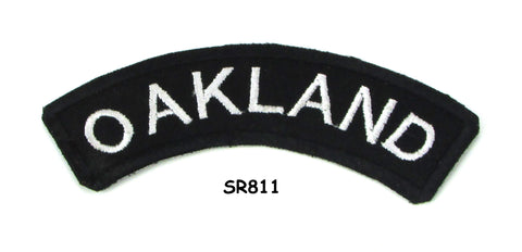Oakland White on Black Small Rocker Iron on Patches for Biker Vest and Jacket