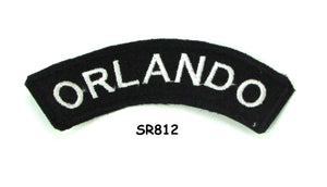 Orlando White on Black Small Rocker Iron on Patches for Biker Vest and Jacket-STURGIS MIDWEST INC.