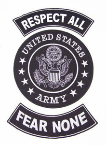 US ARMY RESPECT ALL FEAR NONE PATCHES SET FOR BIKER MOTORCYCLE VEST JACKET-STURGIS MIDWEST INC.