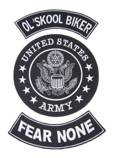US ARMY OLD SKOOL BIKER FEAR NONE PATCHES SET FOR BIKER MOTORCYCLE VEST JACKET-STURGIS MIDWEST INC.