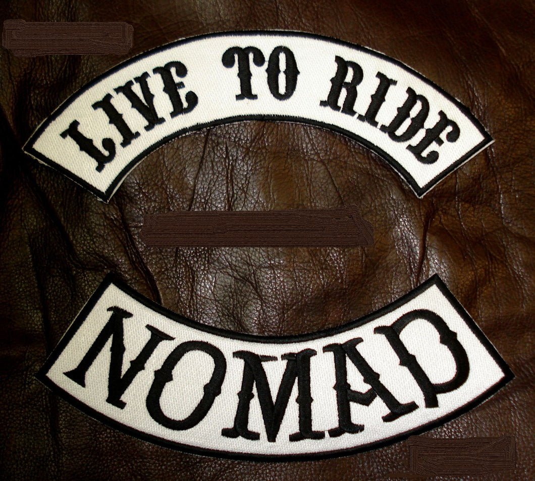 LIVE TO RIDE NOMAD Rocker Patches Set for Biker Vest TR237-BR344-STURGIS MIDWEST INC.