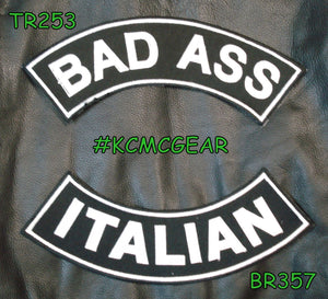 BAD ASS ITALIAN Rocker Patches Set for Biker Vest TR253-BR357-STURGIS MIDWEST INC.