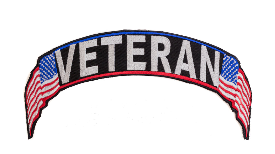 Veteran Red White Blue on Black Top Rocker Patch for Biker Vest Jacket TR331