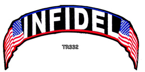 Infidel Red white and blue on black Top Rocker Iron on Patch for Biker Vest TR332-STURGIS MIDWEST INC.