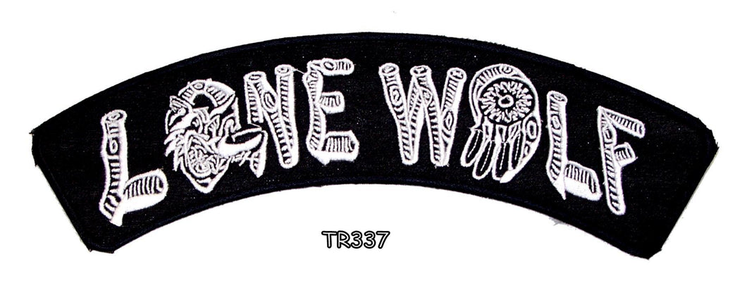 LONE WOLF White on Black Top Rocker Iron on Patch for Biker Vest TR337-STURGIS MIDWEST INC.