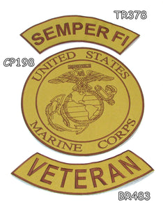 SEMPER FI VETERAN Brown on Gold Iron on 3 Patches Set for Biker Jacket-STURGIS MIDWEST INC.