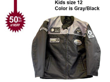 Load image into Gallery viewer, motorcycle kids jacket grey/black Usa mode motor usa classics size 12-STURGIS MIDWEST INC.