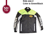 motorcycle kids jacket green/black Usa mode motor usa classics size 2-STURGIS MIDWEST INC.