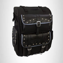 Load image into Gallery viewer, Motorcycle Sissy Bar Bag Two-piece luggage Black Studded Artificial Leather SBTB78S