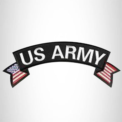 U.S Army White on Black Banner Iron on Top Rocker Patch for Biker Vest Jacket