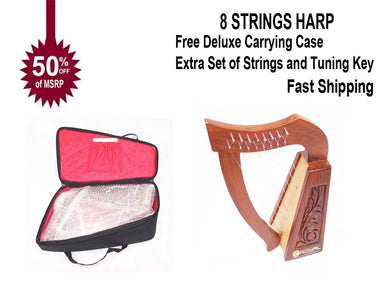 Celtic Irish Rose Harp 8 Strings Solid Wood Great for Children New