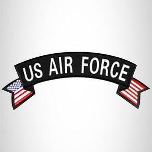 U.S Air Force White on Black Banner Iron on Top Rocker Patch for Biker Vest Jacket