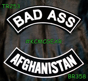 BAD ASS AFGHANISTAN Rocker Patches Set for Biker Vest TR253-BR358-STURGIS MIDWEST INC.
