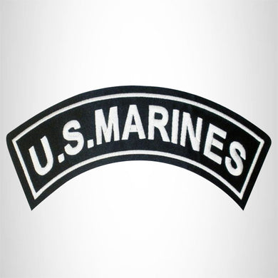 U.S. MARINES White on Black Top Rocker Patch for Motorcycle Jacket Vest