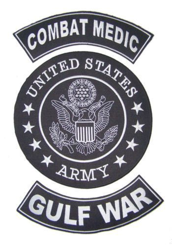US ARMY COMBAT MEDIC GULF WAR BACK PATCHES FOR VETERAN VET BIKER VEST JACKET-STURGIS MIDWEST INC.