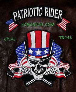 Patriotic Rider Skull & Flags Patch Patches Embroidered Custom Patches Biker Patches-STURGIS MIDWEST INC.