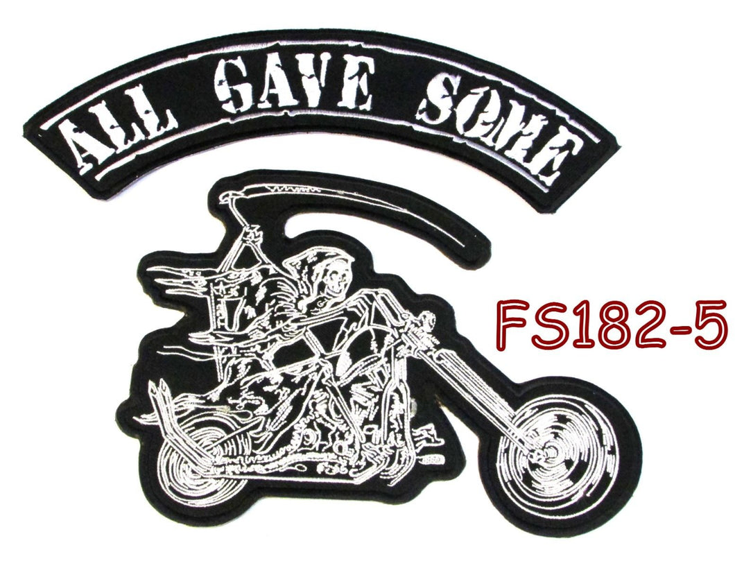 All gave some Grim Reaper writing motorcycle Iron on Patch for Biker Vest FS182-5-STURGIS MIDWEST INC.