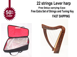 36 inch Large Hand Made and Hand Polished 22 Strings Harp Free Carrying Case-STURGIS MIDWEST INC.
