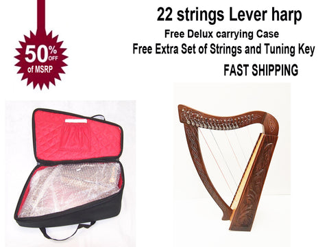 36 inch Large Hand Made and Hand Polished 22 Strings Harp Free Carrying Case