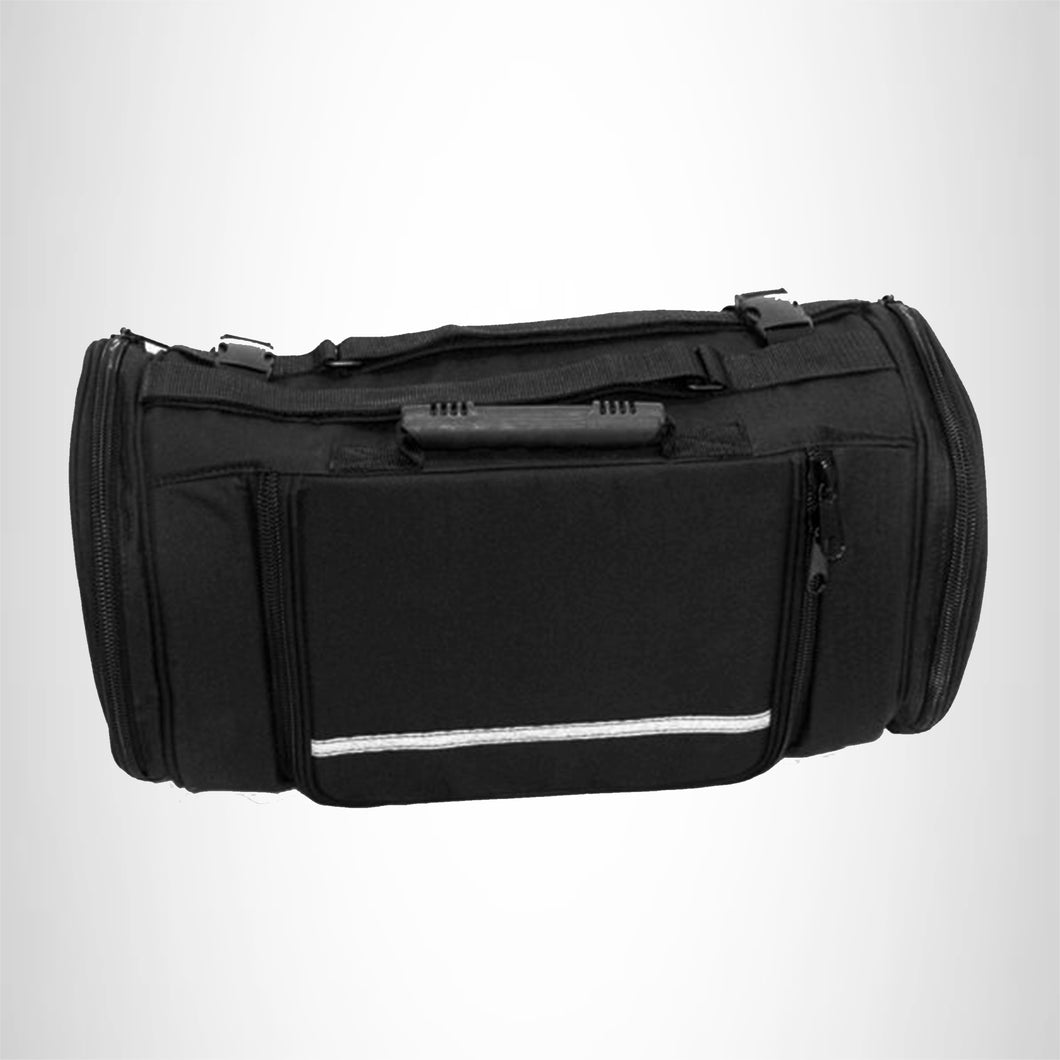 Motorcycle Roll Bag Cadora Back Rack Pack Safety Reflective Stripping to Quick Release Straps