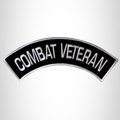 COMBAT VETERAN Iron on Top Rocker Patch for Biker Vest Jacket TR208