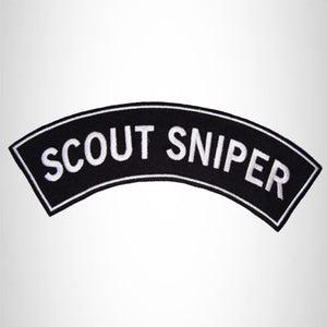 Scout Sniper White on Black Iron on Top Rocker Patch for Biker Vest Jacket