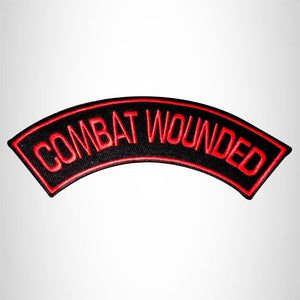 COMBAT WOUNDED Red on Black Iron on Top Rocker Patch for Biker Vest Jacket