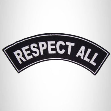 RESPECT ALL White on Black Iron on Top Rocker Patch for Biker Vest Jacket