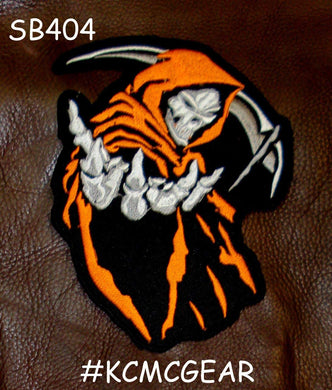 ORANGE GRIM REAPER PATCH DEATH ANGLE FOR BIKER MOTORCYCLE JACKET VEST LARGE NEW-STURGIS MIDWEST INC.