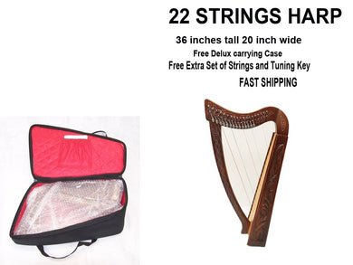 22 String Lever Harp Celtic Irish Style Solid wood free Carrying Bag strings and Tuner