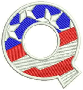 R Alphabet Letters of US Flag Iron on Small Badge Patch for Biker Vest-STURGIS MIDWEST INC.