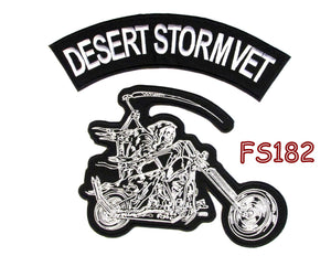 Desert Storm Vet Grim Reaper writing motorcycle Iron on Patch for Biker Vest FS182-STURGIS MIDWEST INC.