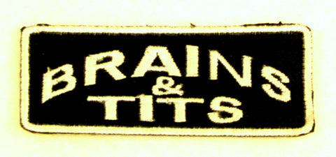 BRAINS & TITS White on Black with Border Iron on Small Patch for Biker Vest SB834
