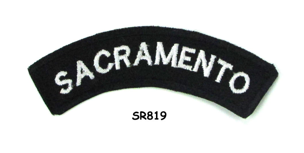 Sacramento White on Black Small Rocker Iron on Patches for Biker Vest and Jacket-STURGIS MIDWEST INC.