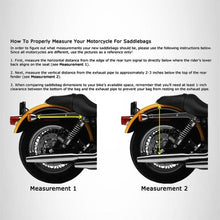Load image into Gallery viewer, Genuine Cowhide Leather Motorcycle Saddlebags 3 strap for harley dyna and softail #551