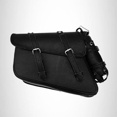 Black leather solo bag saddlebag for harley 2003 to 2014