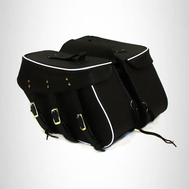 Genuine Cowhide Leather Saddlebags set for harley dyna low rider 3 straps zip off