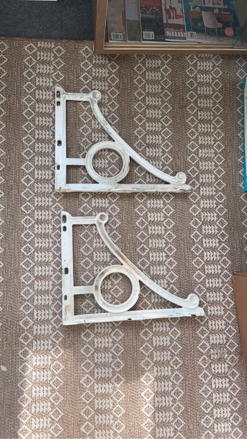Antique Cast Iron and Porcelain Covered Wall Brackets