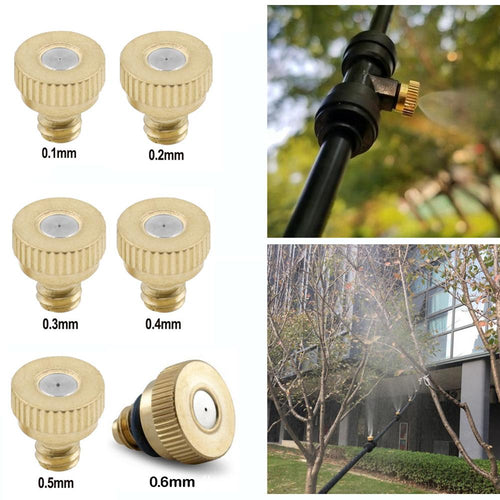 10pcs/20pcs Water Spray Nozzle Sprinklers Misting Outdoor Cooling System Brass Misting Nozzles 0.1/0.2/0.3/0.4/0.5/0.6 mm