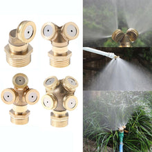 "Load image into Gallery viewer, 1/2"" Misting Nozzle Brass Atomizing Spray Fitting Nebulizer Hose Connector Water Sprinkler Adjustable for Garden Lawn Irrigation"