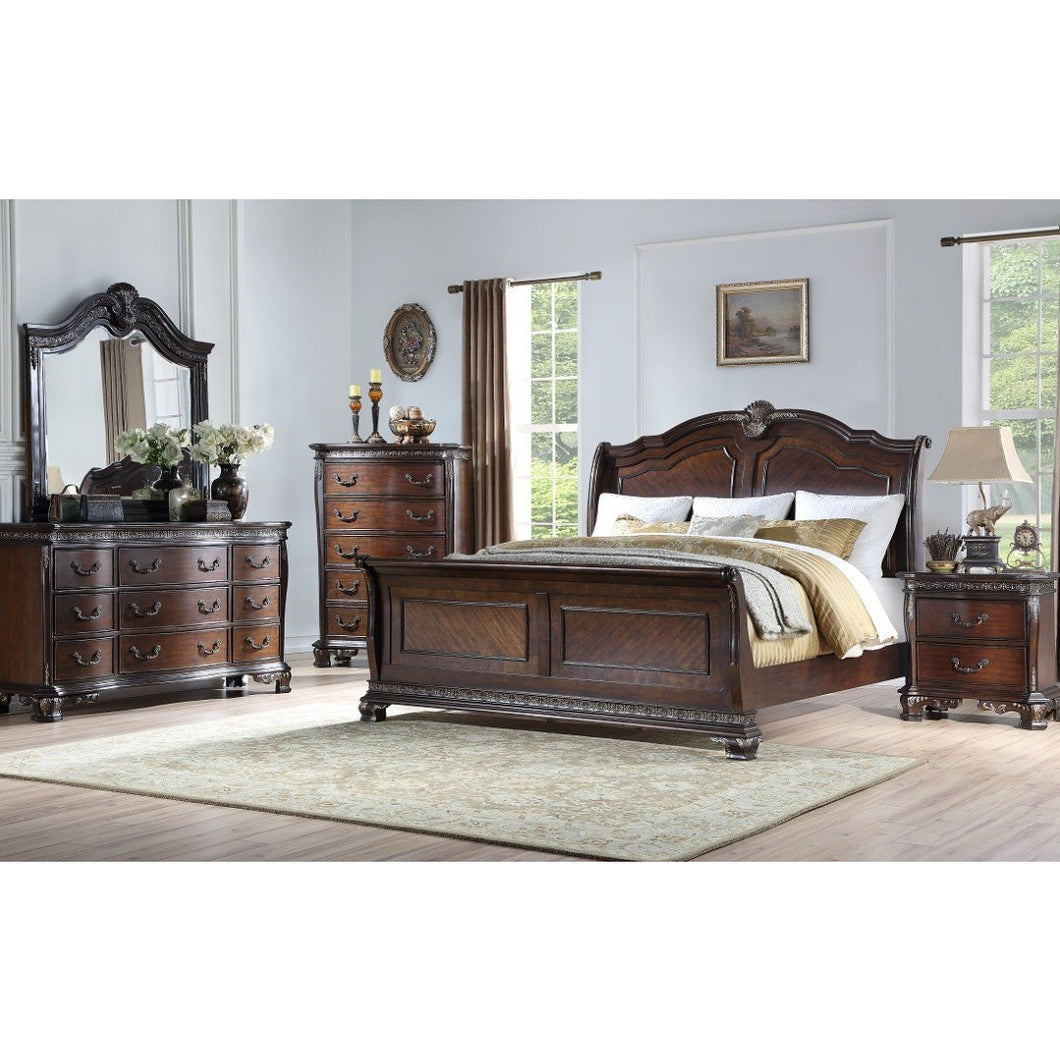 The Deluxe | Faux Leather Platform Bed | 5 Piece Set
