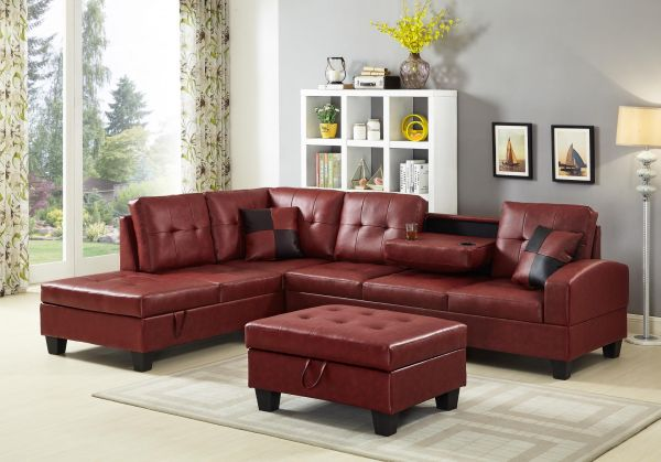 IKASA Sectional Red Ottoman