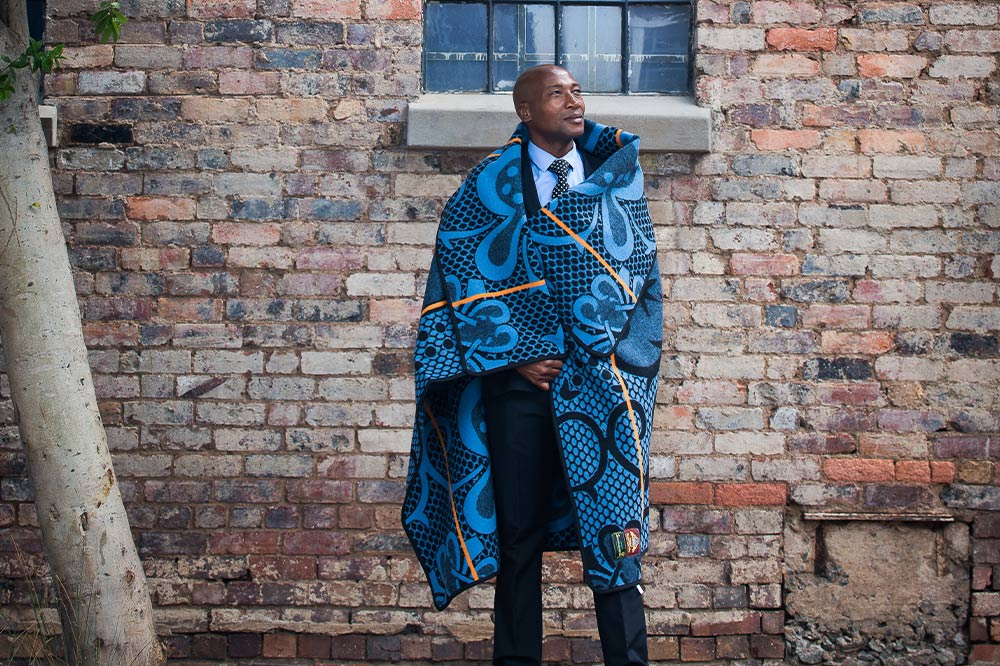 The Basotho blanket worn traditionally by an African gentleman