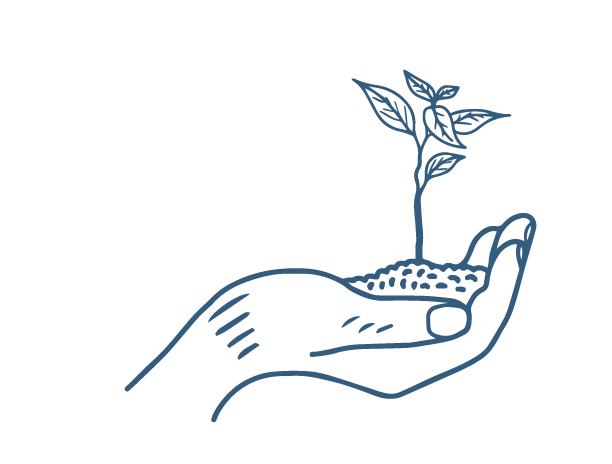 Hypoallegenic sketch icon of hand holding a growning plant for Thula Tula blankets and throws