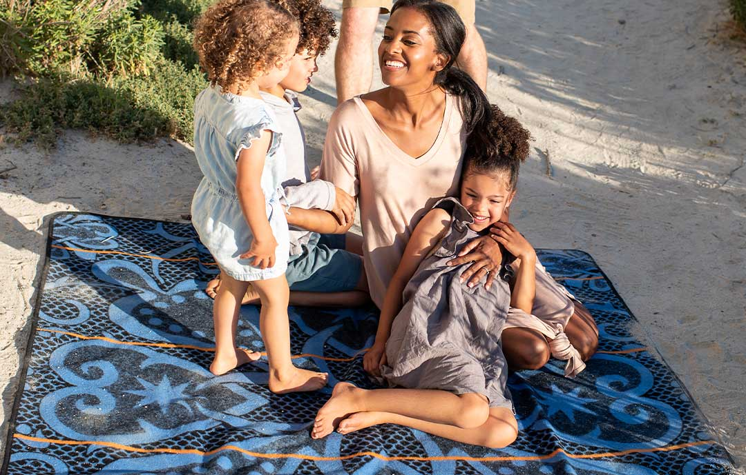 Basotho Heritage African Blanket with Family on a beach
